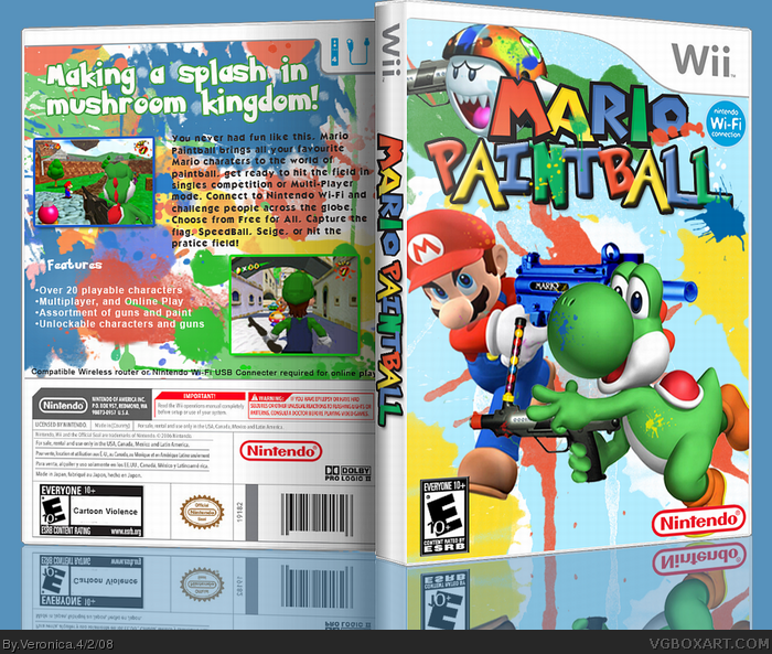 mario paintball wii box art cover by veronica