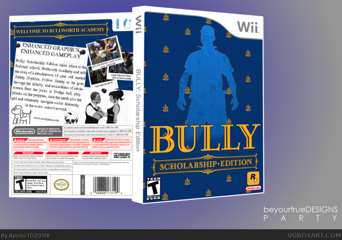 Bully: Scholarship Edition Wii Box Art Cover by Apollo
