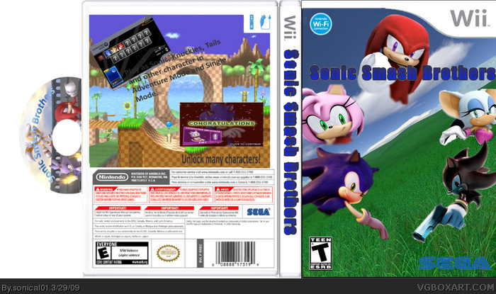 Sonic smash bros wii box art cover by deleted