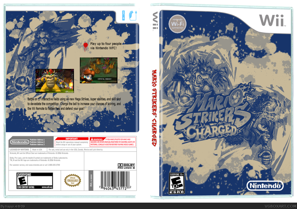 Mario strikers charged wii box art cover by happi for Mario strikers coloring pages