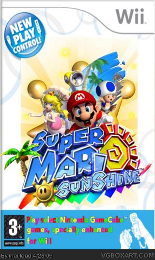 New Play Control Super Mario Sunshine Wii Box Art Cover