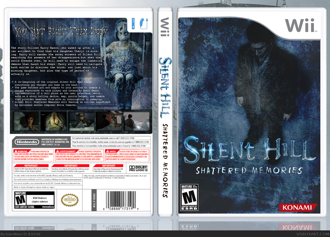 Silent Hill Shattered Memories Wii Box Art Cover By