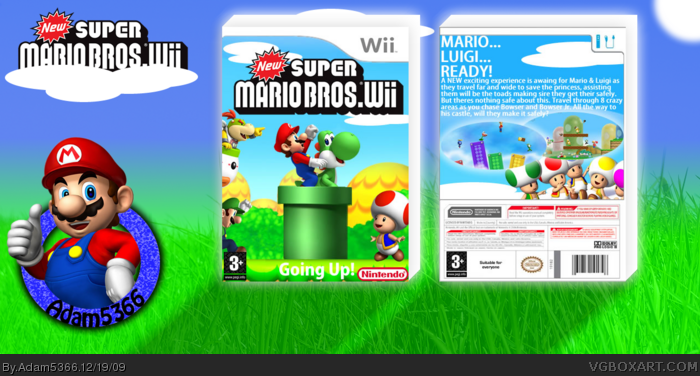 New Super Mario Bros  Wii Wii Box Art Cover by Adam5366
