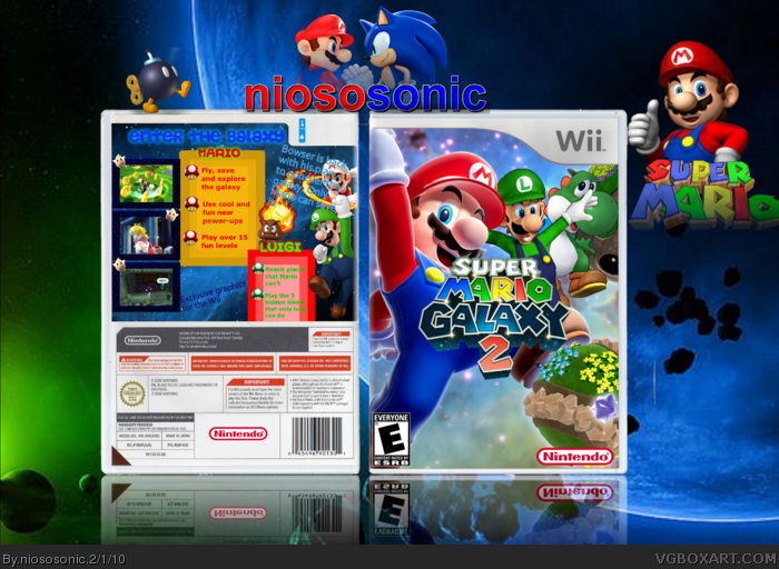 Super Mario Galaxy 2 Wii Box Art Cover by niososonic