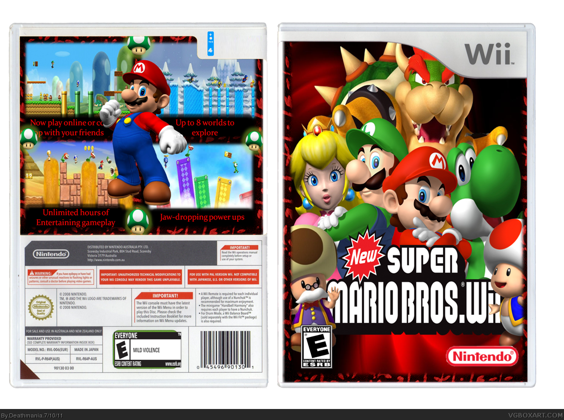 Genesis 38 8 >> New Super Mario Bros. Wii Wii Box Art Cover by Deathmania
