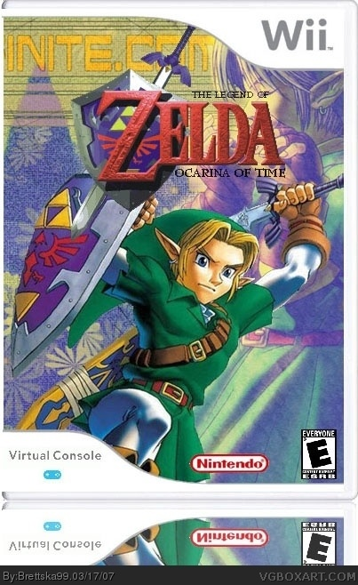 the legend of zelda  ocarina of time wii box art cover by