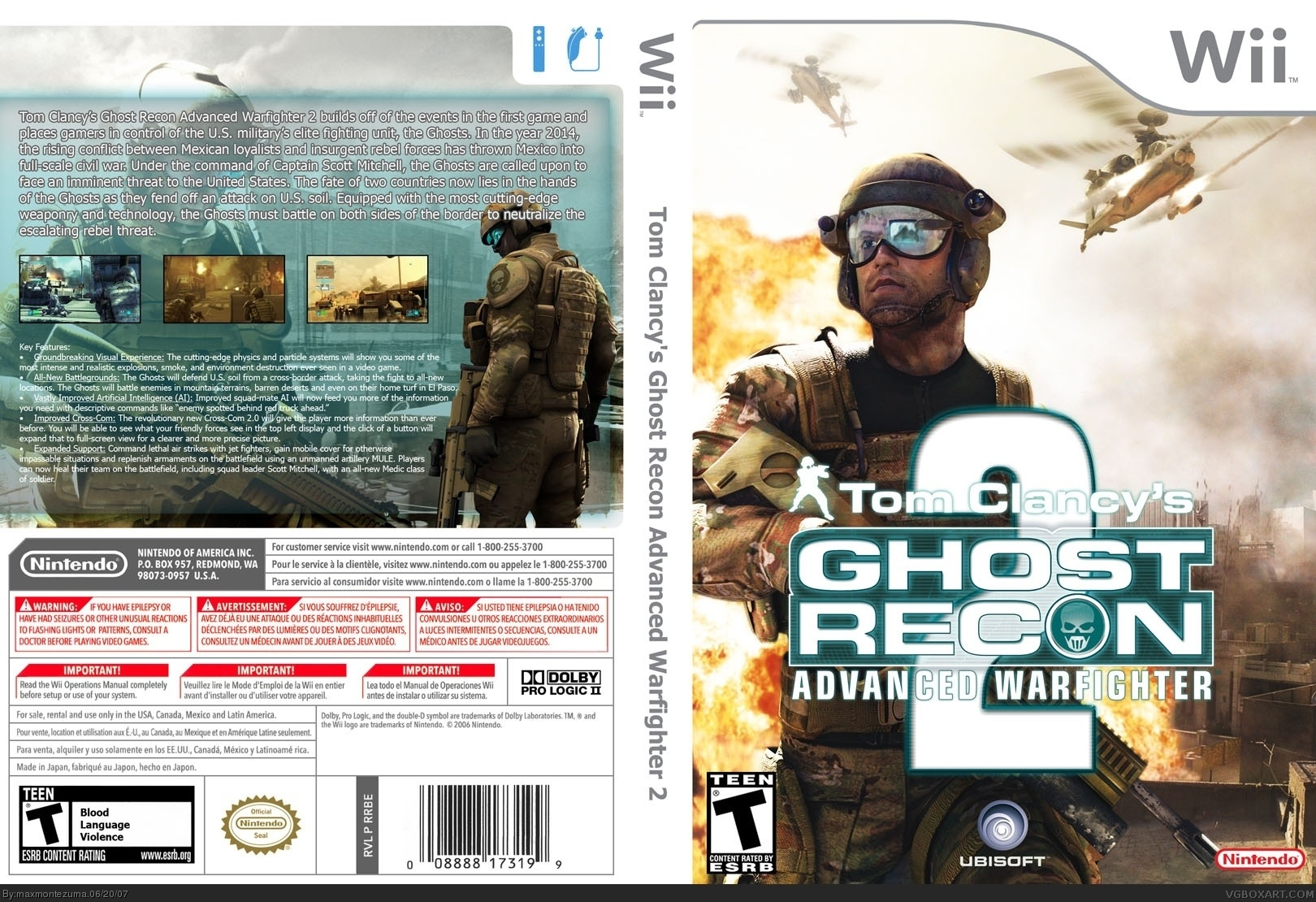 tom clancy's ghost recon advanced warfighter 2 wii box art cover