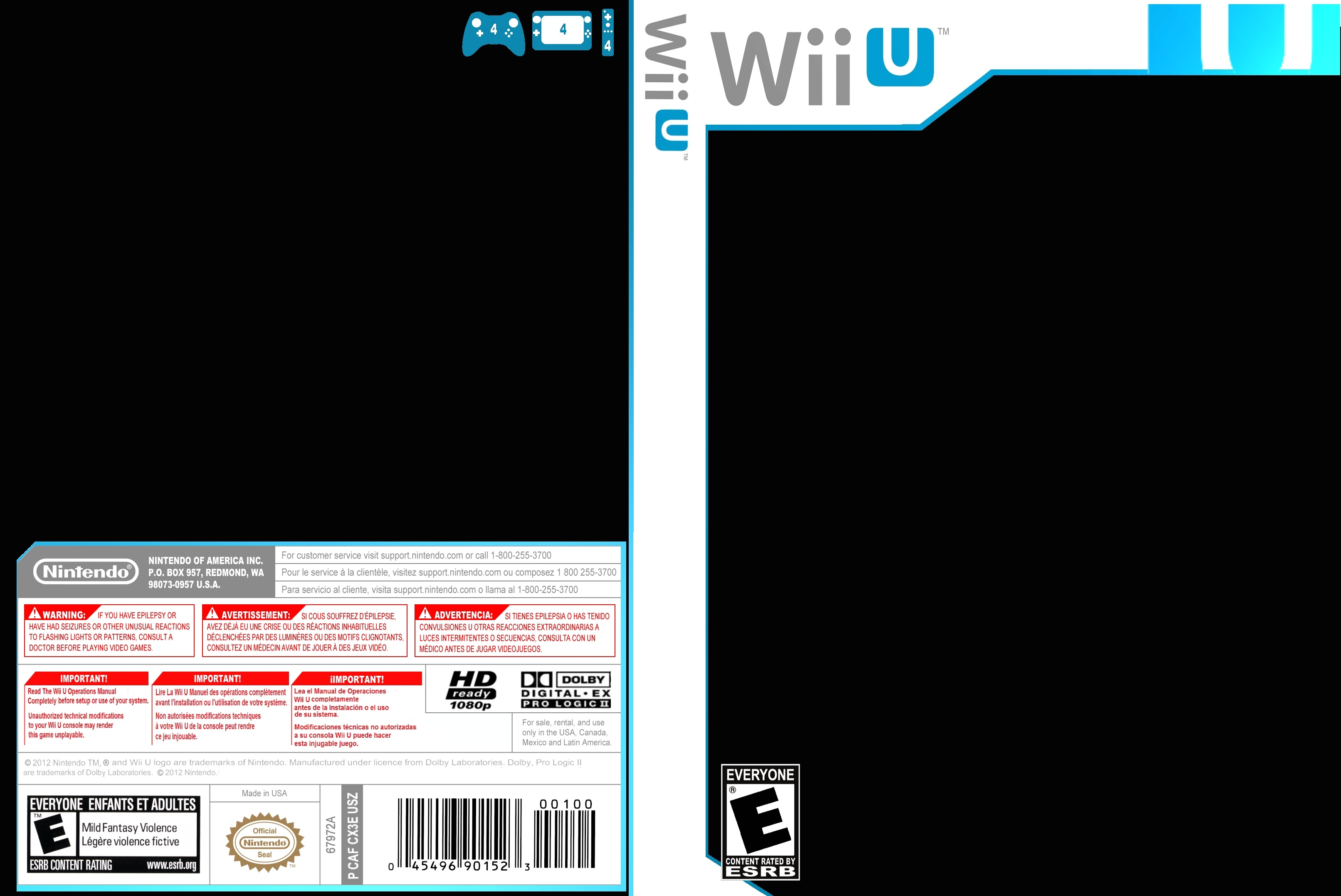 Wii u case template wii u box art cover by wexter for Video game cover template