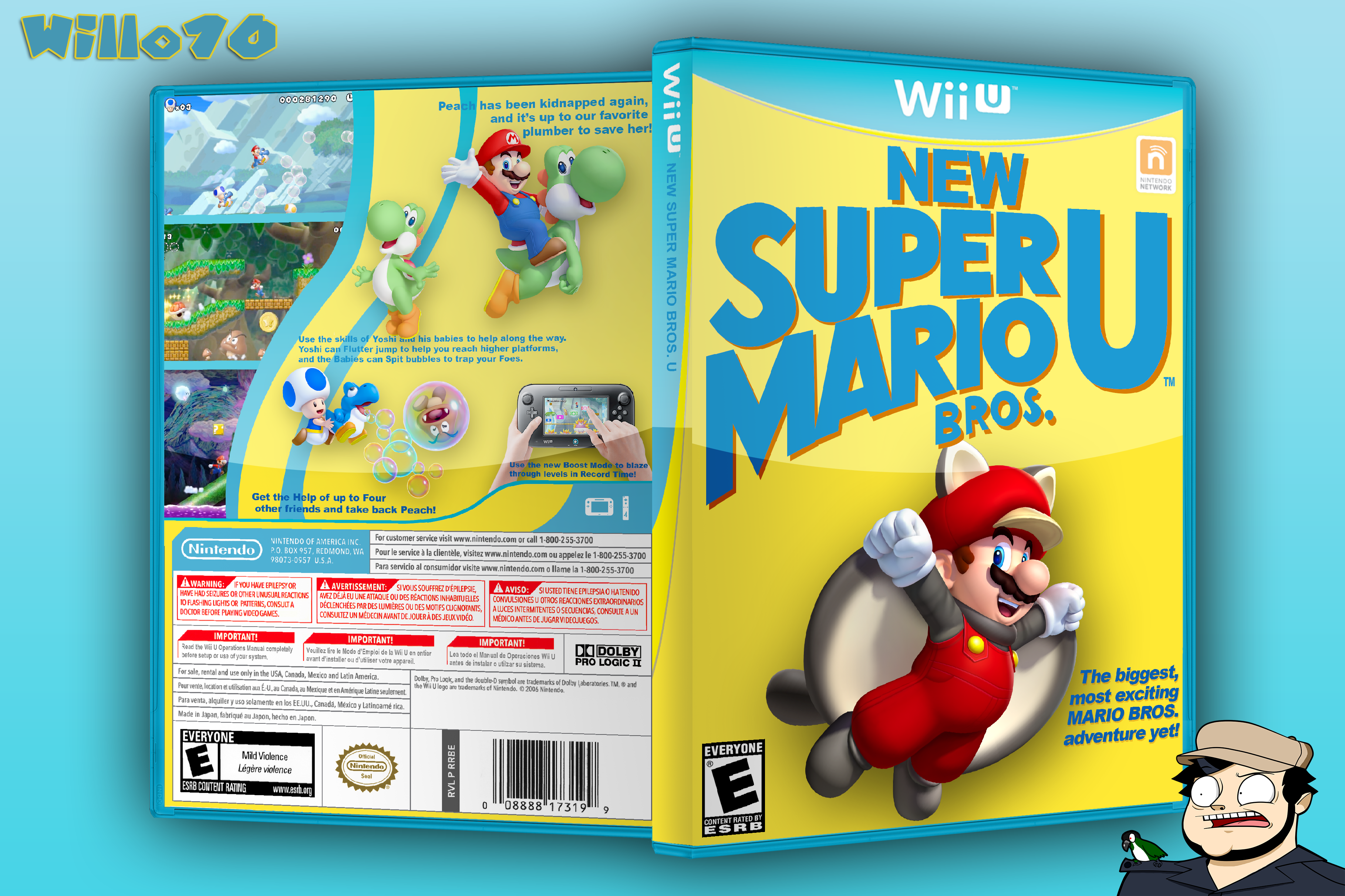 Mario Wii U Games : New super mario bros u wii box art cover by willo