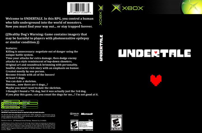 undertale xbox box art cover by xkfrushay26