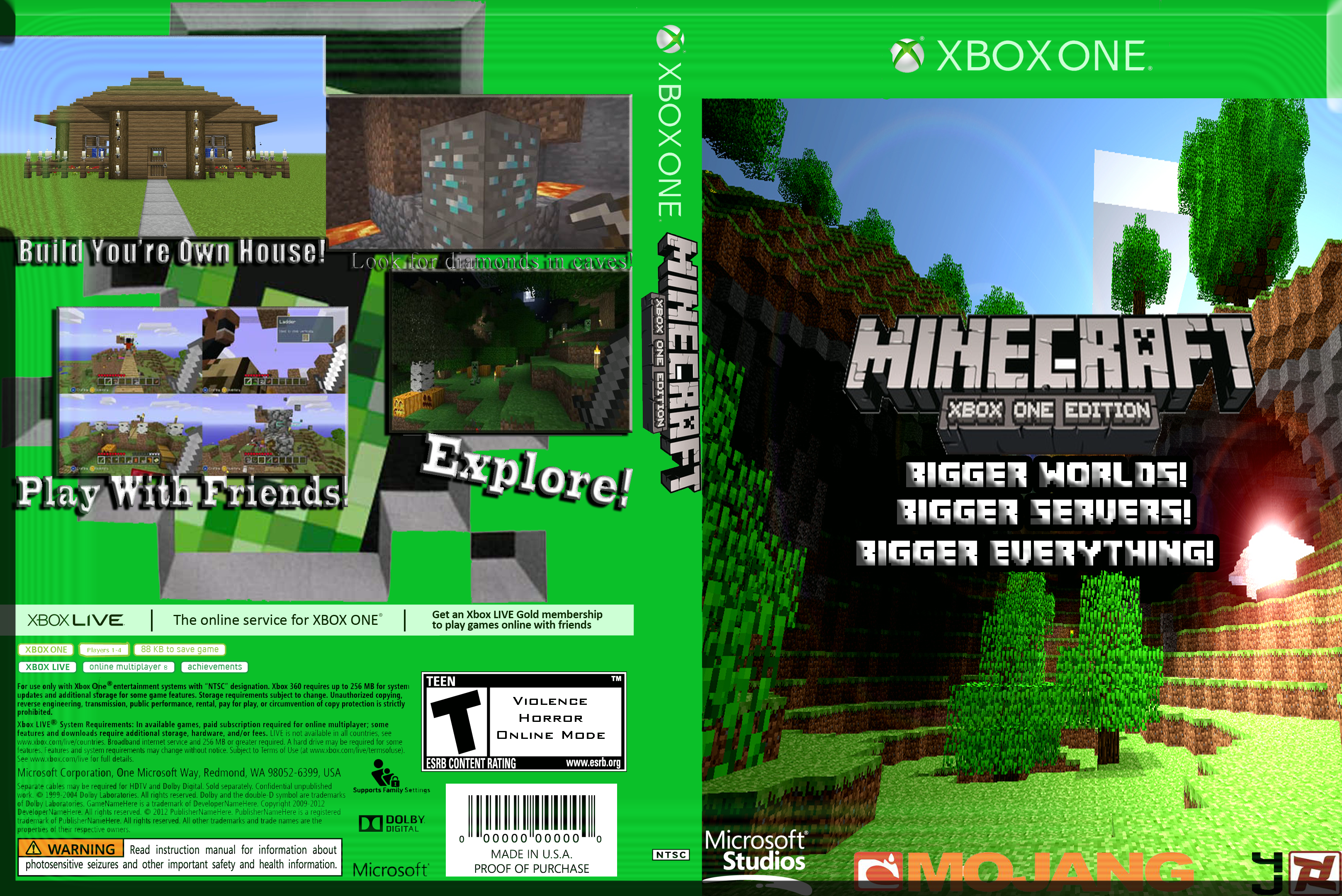 Book Cover Craft Xbox One : Minecraft xbox one edition box art cover by