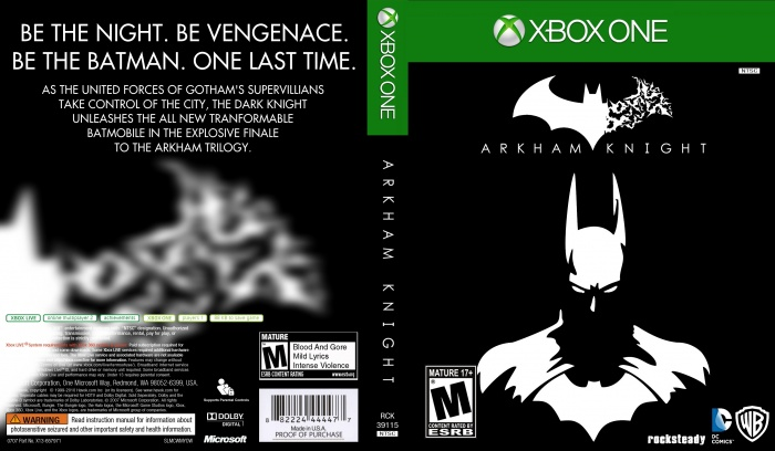 Book Cover Printable Xbox One ~ Batman arkham knight xbox one box art cover by bulbsy
