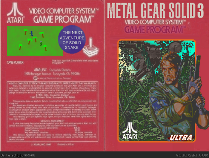 Metal Gear Solid 3 Atari Box Art Cover By Theredlight