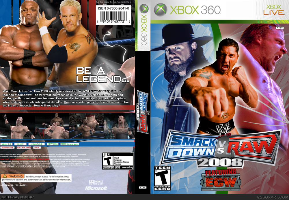 Wwe Smackdown Vs Raw 2008 Xbox 360 Box Art Cover By Elcrazy