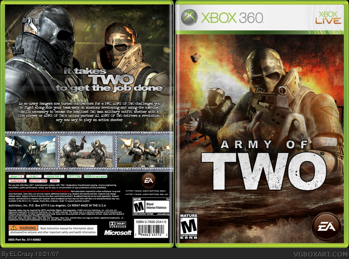Book Cover Tutorial Xbox One : Army of two xbox box art cover by elcrazy