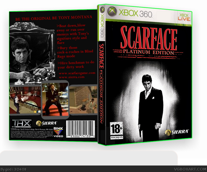 scarface the world is yours xbox 360 box art cover by god i