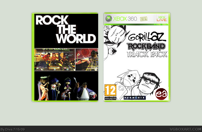 Gorillaz - Rock Band - Track Pack Xbox 360 Box Art Cover by Diva