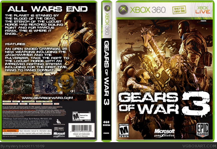 Gears Of War 3 Xbox 360 Box Art Cover By Mystery Bandit