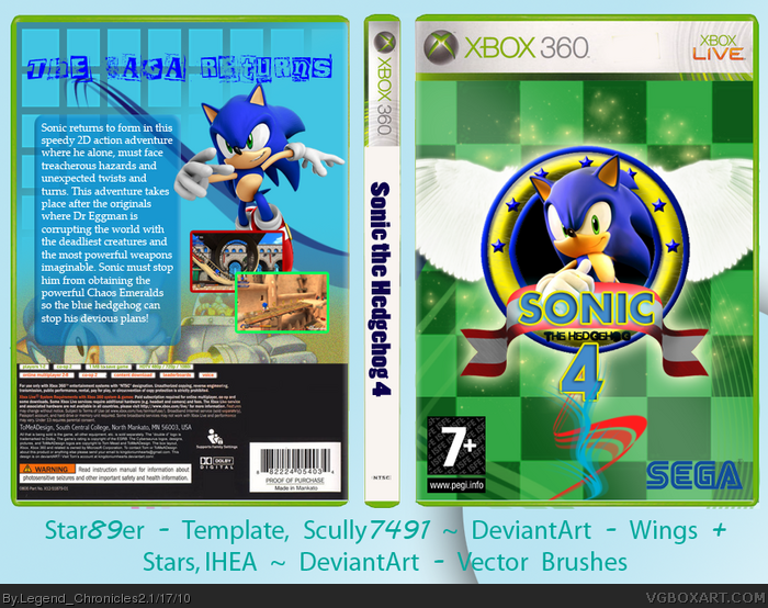 Sonic The Hedgehog 4 Xbox 360 Box Art Cover By Legend Chronicles2