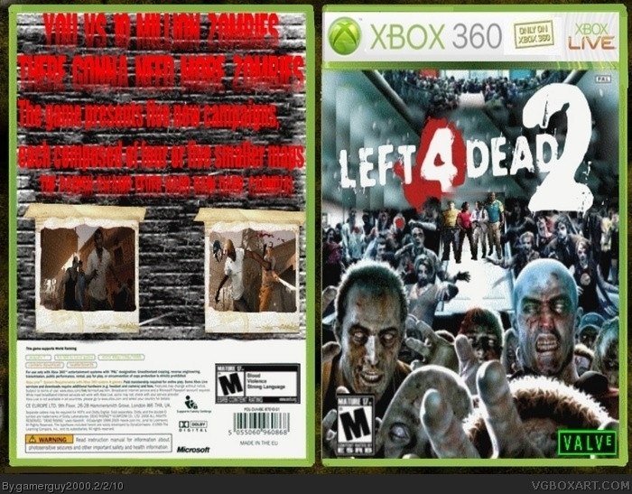 Left 4 Dead 2 Xbox 360 Box Art Cover by gamerguy2000