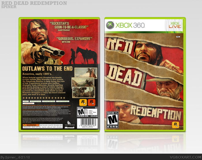 Red Dead Redemption Xbox 360 Box Art Cover by Spiner_