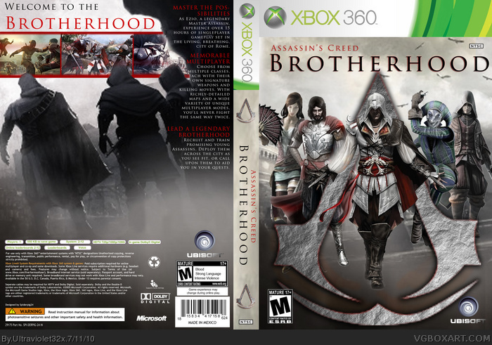 Assassin S Creed Brotherhood Xbox 360 Box Art Cover By Ultraviolet32x