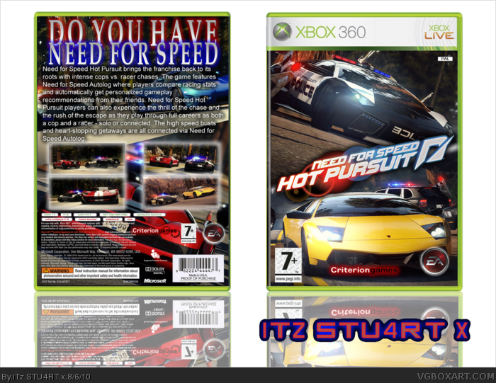 Need For Speed Hot Pursuit 2010 Xbox 360 Box Art Cover By Itz