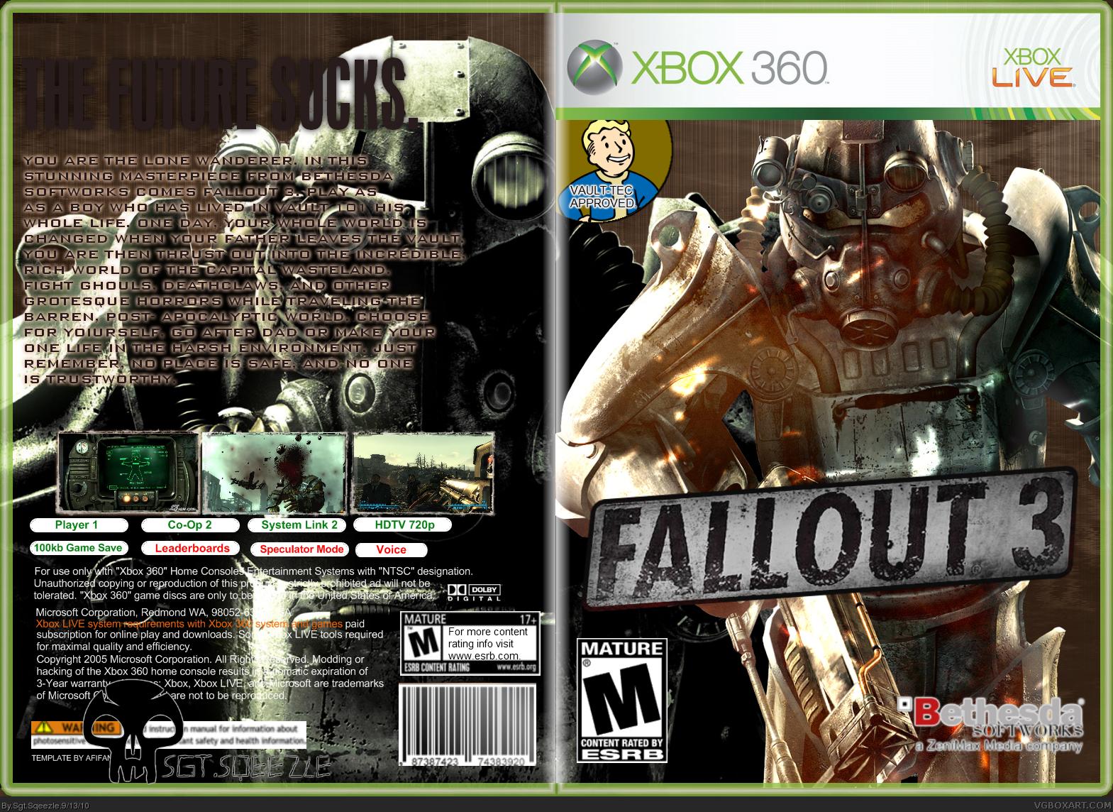 Fallout 3 Xbox 360 Box Art Cover By Sgt Sqeezle
