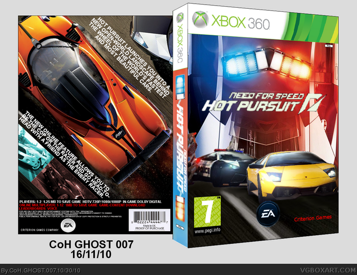 Need For Speed Hot Pursuit 2010 Xbox 360 Box Art Cover By Coh