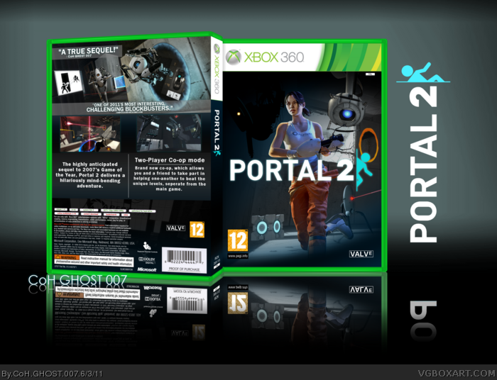 Portal 2 Xbox 360 Box Art Cover By Coh Ghost 007