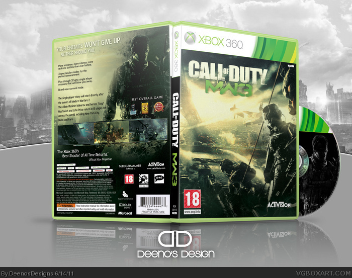 Call Of Duty Modern Warfare 3 Xbox 360 Box Art Cover By Deenosdesigns