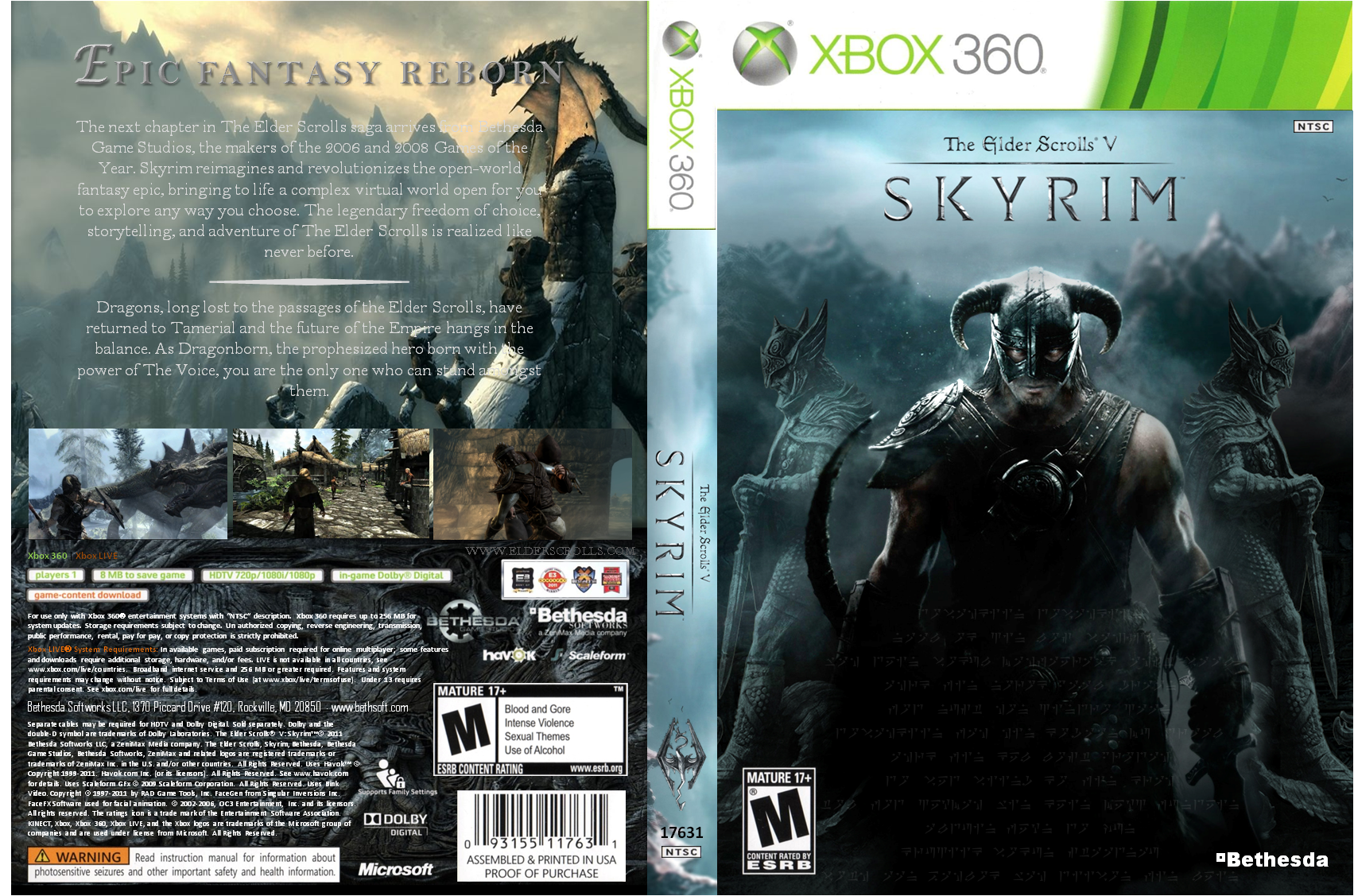 The Elder Scrolls V: Skyrim Xbox 360 Box Art Cover by ironwill8