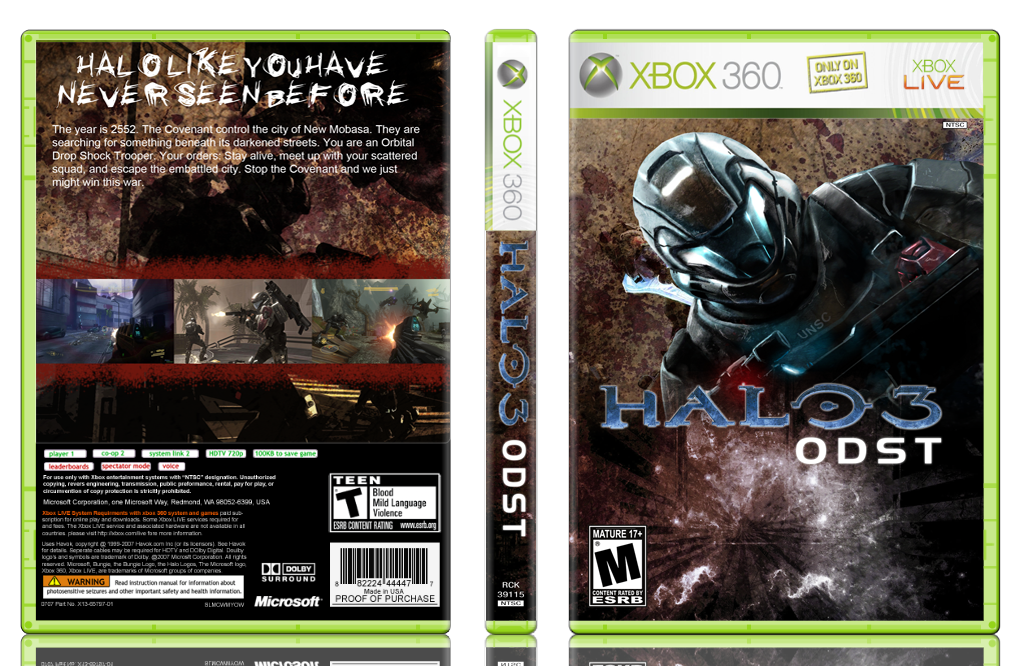 Halo 3 Odst Xbox 360 Box Art Cover By Rex The Dinosoar