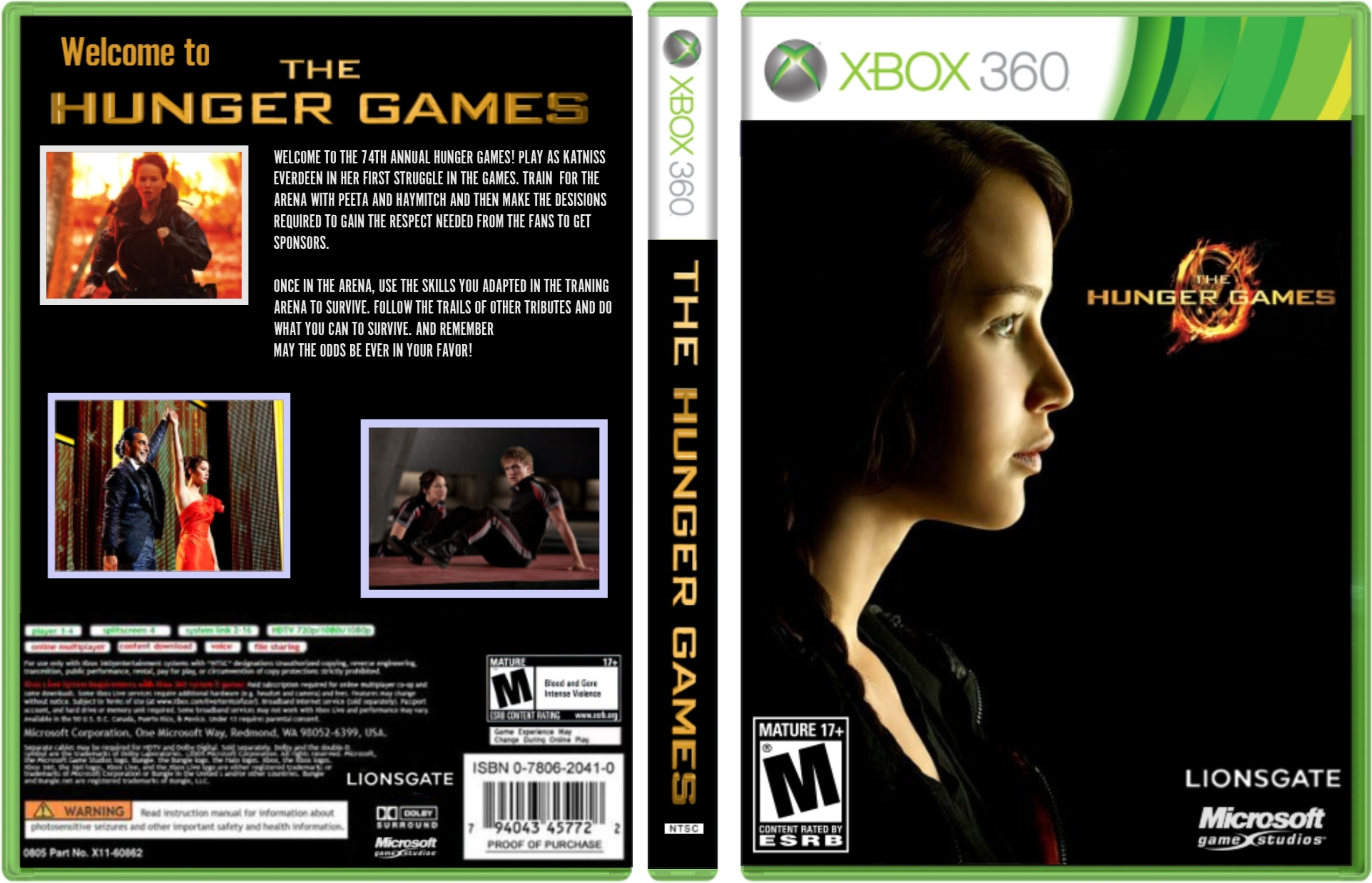 Xbox 360 T Games : The hunger games xbox box art cover by probenji
