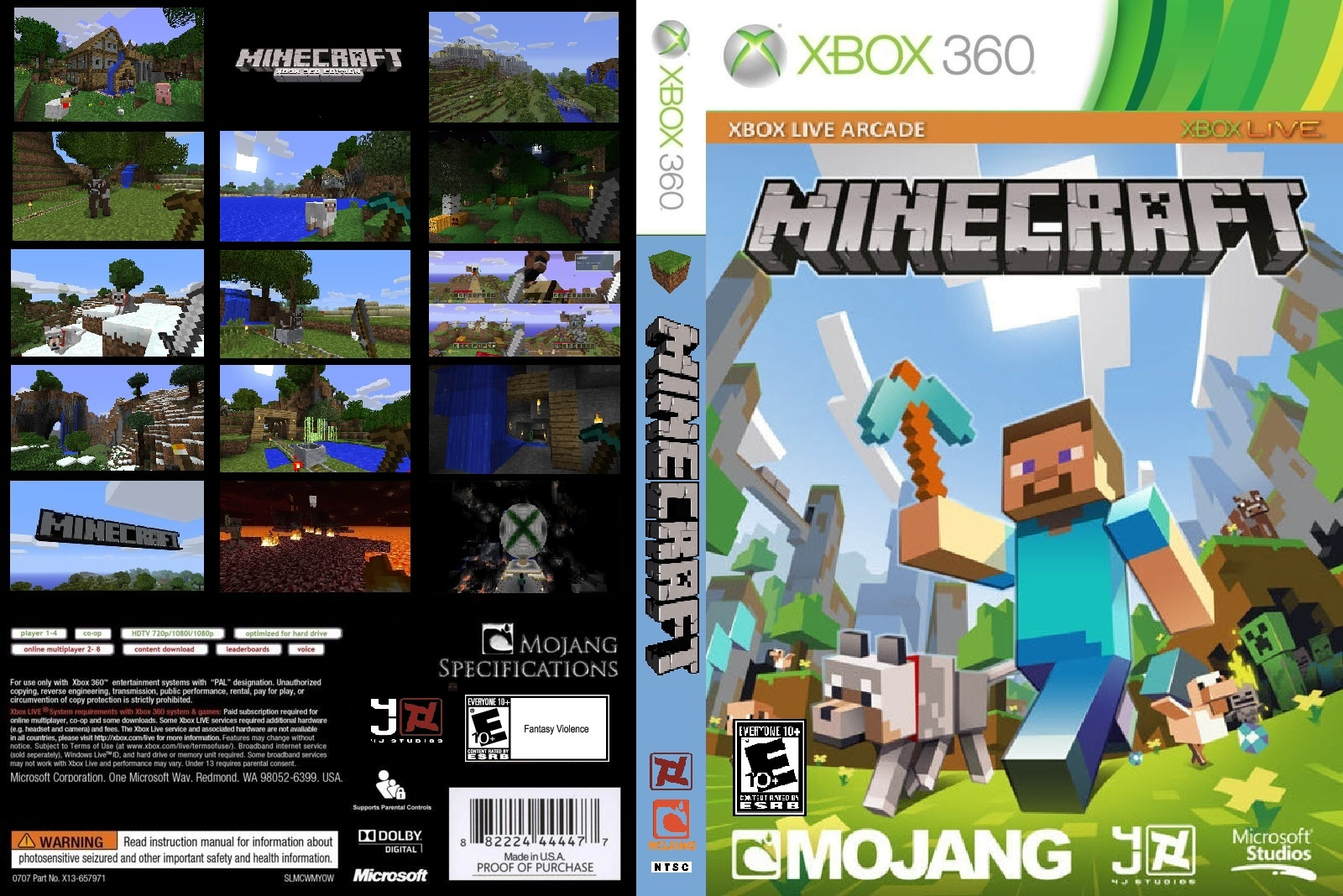 For Minecraft Pc Game Case : Minecraft xbox edition box art cover by