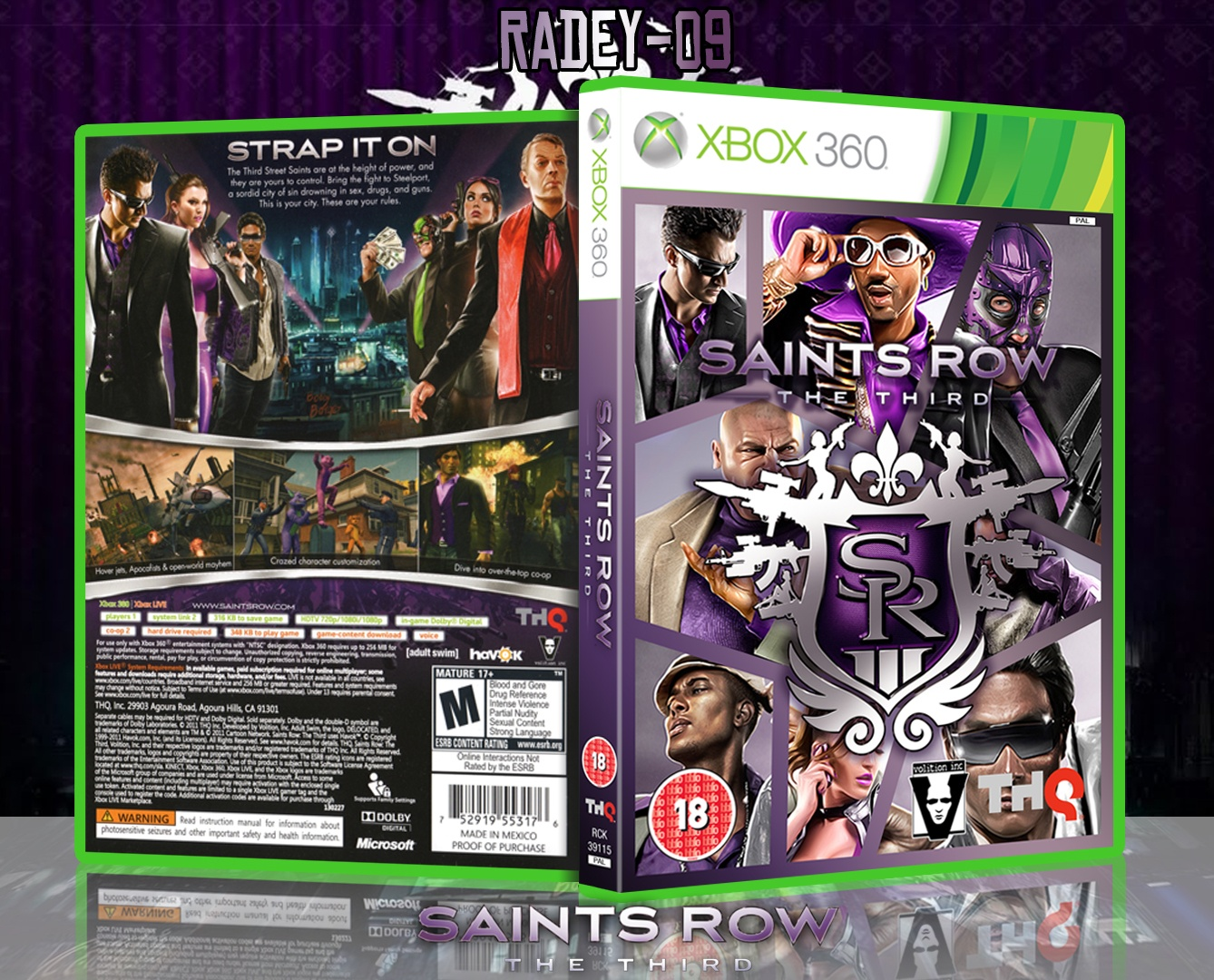 saints row  the third xbox 360 box art cover by radey