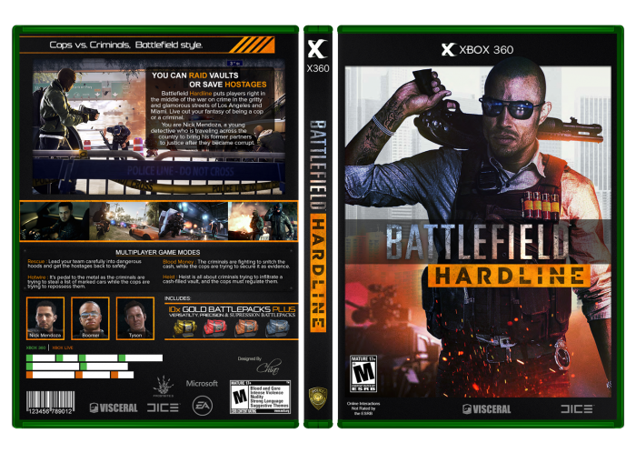 Single Line Box Art : Battlefield hardline xbox box art cover by chino