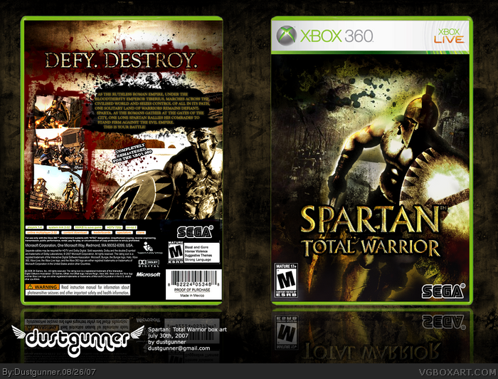 Spartan Total Warrior Xbox 360 Box Art Cover By Dustgunner