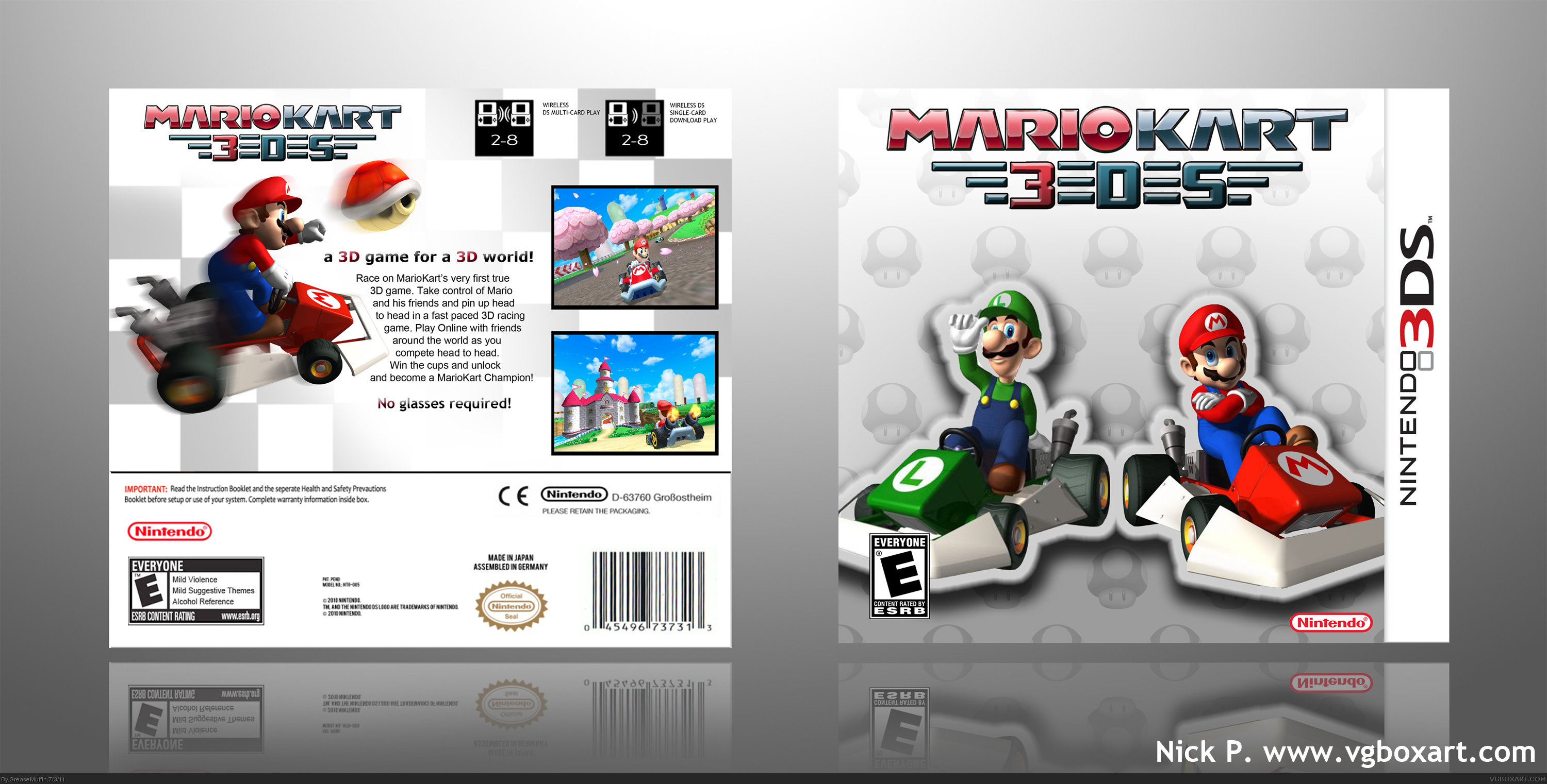 mario kart 3ds nintendo 3ds box art cover by greasemuffin. Black Bedroom Furniture Sets. Home Design Ideas