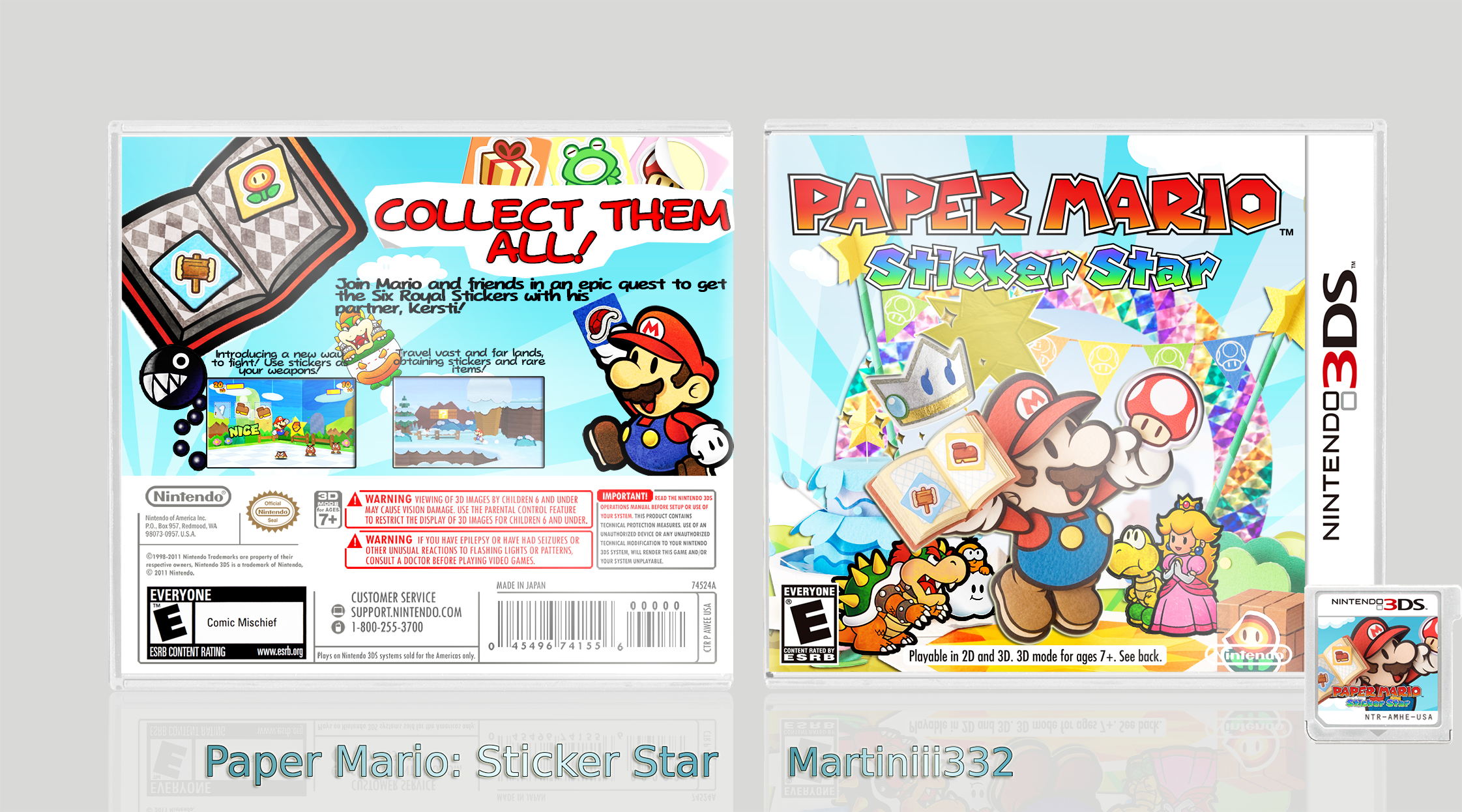 paper mario  sticker star nintendo 3ds box art cover by