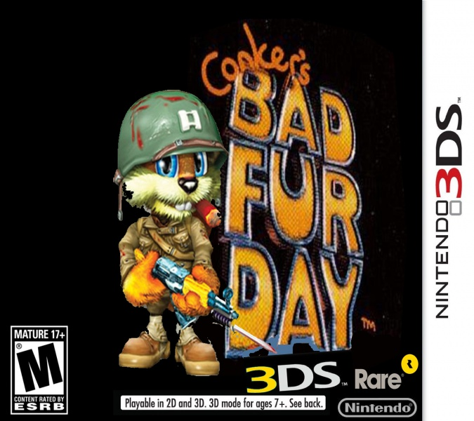 Conker S Bad Fur Day 3ds Nintendo 3ds Box Art Cover By