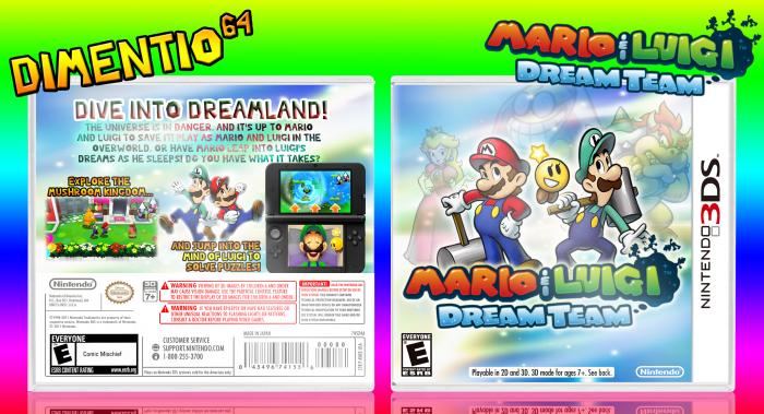 Mario Luigi Dream Team Nintendo 3ds Box Art Cover By Dimentio64