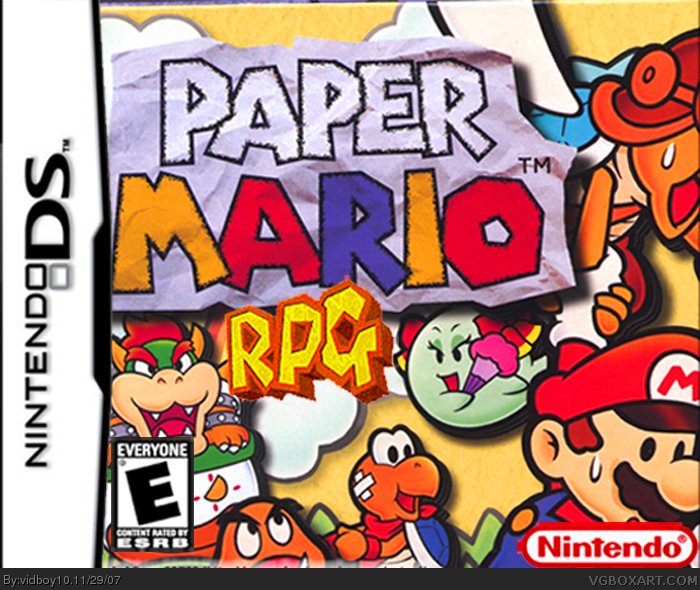 Paper Mario RPG Nintendo DS Box Art Cover by vidboy10