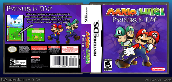 Mario Luigi Partners In Time Nintendo Ds Box Art Cover By