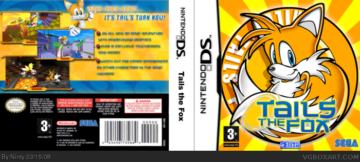 Tails The Fox Nintendo Ds Box Art Cover By Ninty