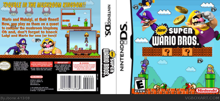 New Super Wario Bros Nintendo Ds Box Art Cover By Jbone