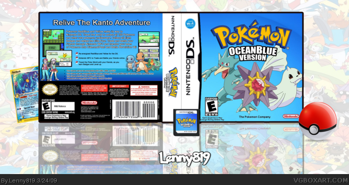 pokemon ocean blue version nintendo ds box art cover by lenny819. Black Bedroom Furniture Sets. Home Design Ideas