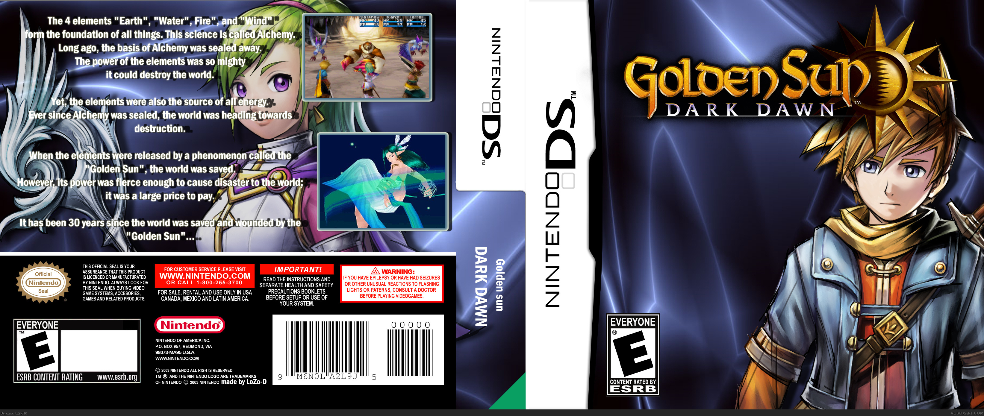 Golden Sun: Dark Dawn Nintendo DS Box Art Cover by lozod
