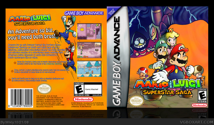 Mario Luigi Superstar Saga Game Boy Advance Box Art Cover