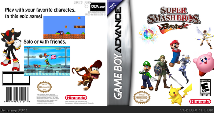 Super Smash Brothers Advance Game Boy Advance Box Art Cover